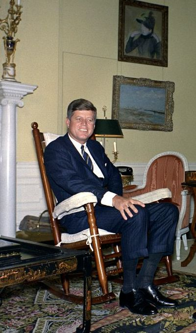The President in his favoured rocking chair, 1962