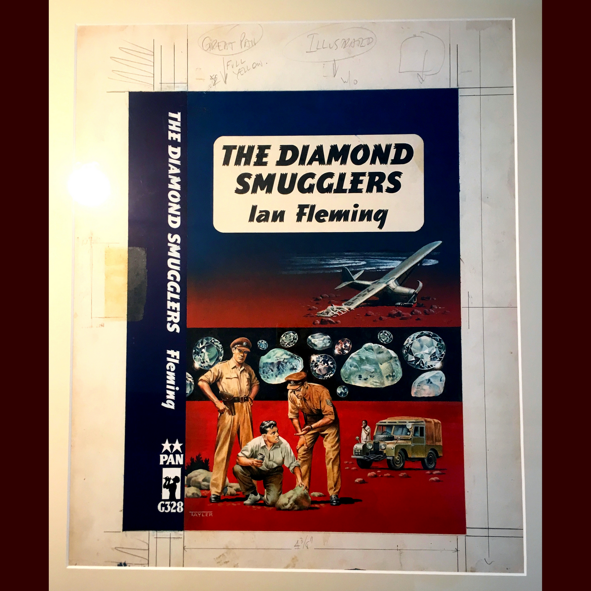 Original painting for the cover of 1960 Pan paperback edition, with annotations